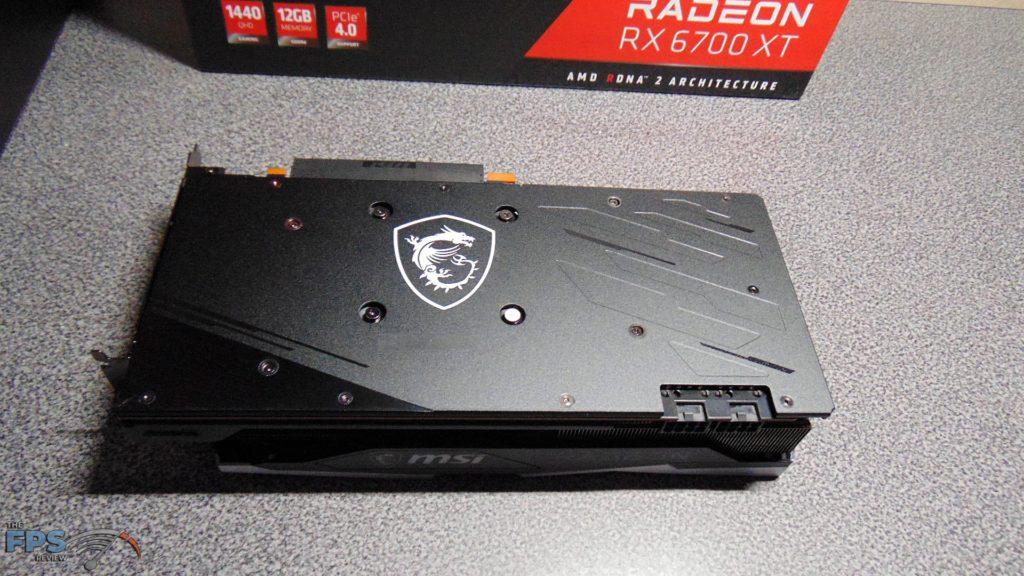 MSI Radeon RX 6700 XT GAMING X backplate on table