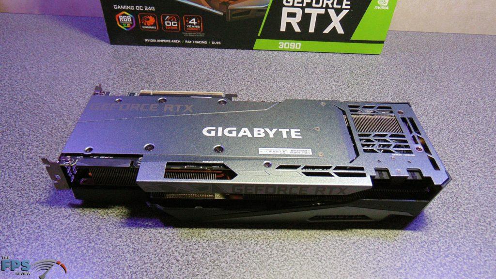 GIGABYTE GeForce RTX 3090 GAMING OC Back of Card on Table