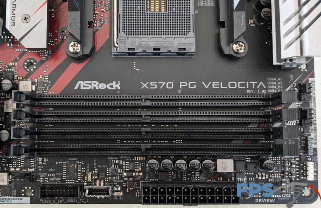 ASRock X570 PG Velocita Motherboard Logo on Motherboard and RAM Slots