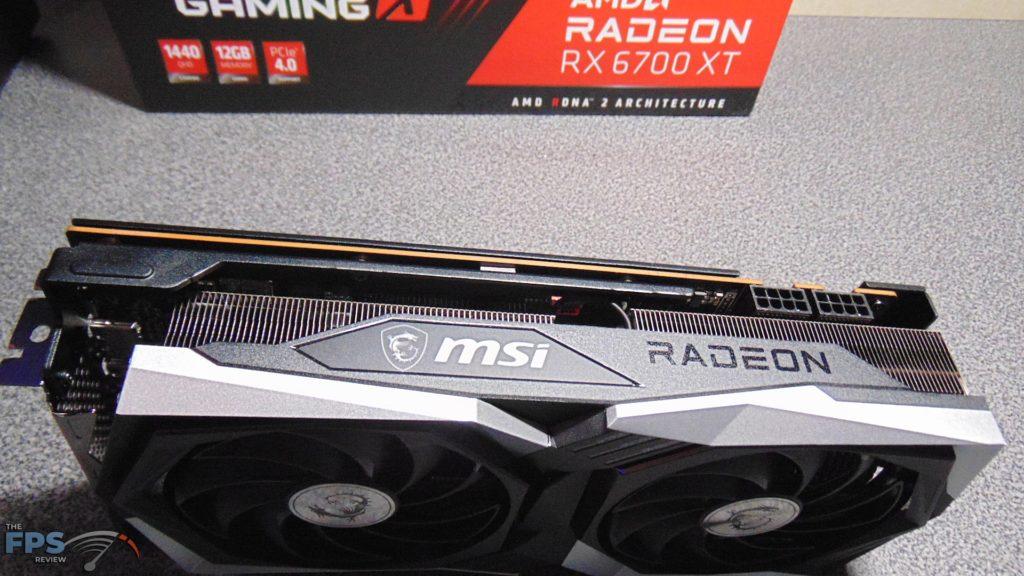 MSI Radeon RX 6700 XT GAMING X top edge on table
