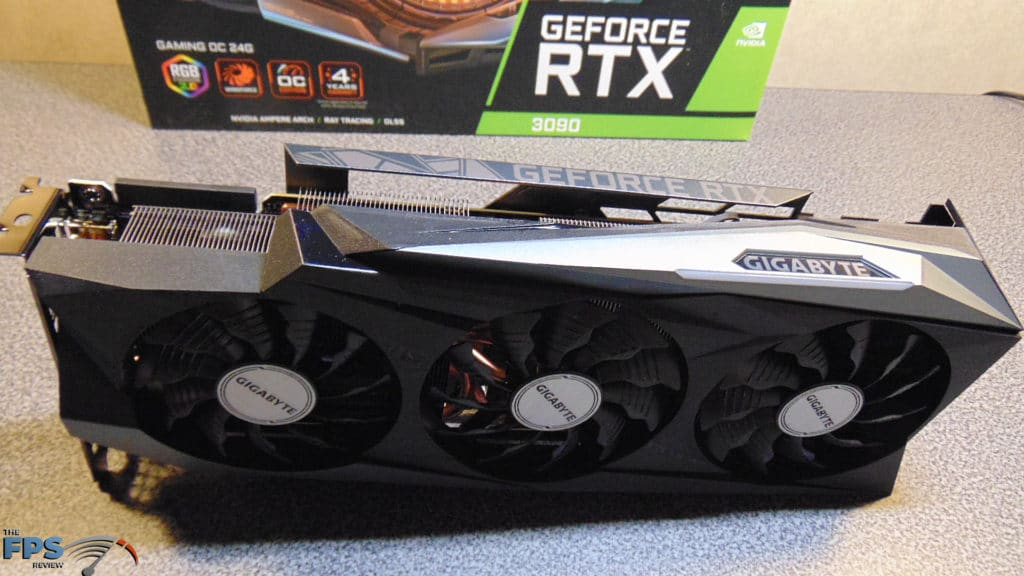 GIGABYTE GeForce RTX 3090 GAMING OC Card Sitting Up on Table