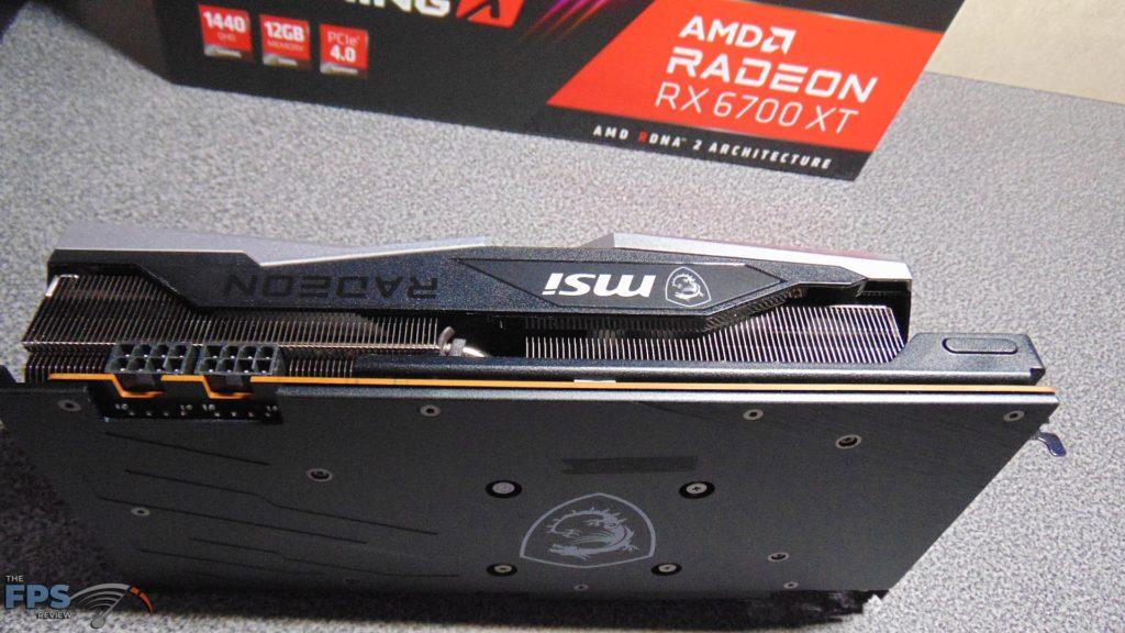 MSI Radeon RX 6700 XT GAMING X bottom edge on table