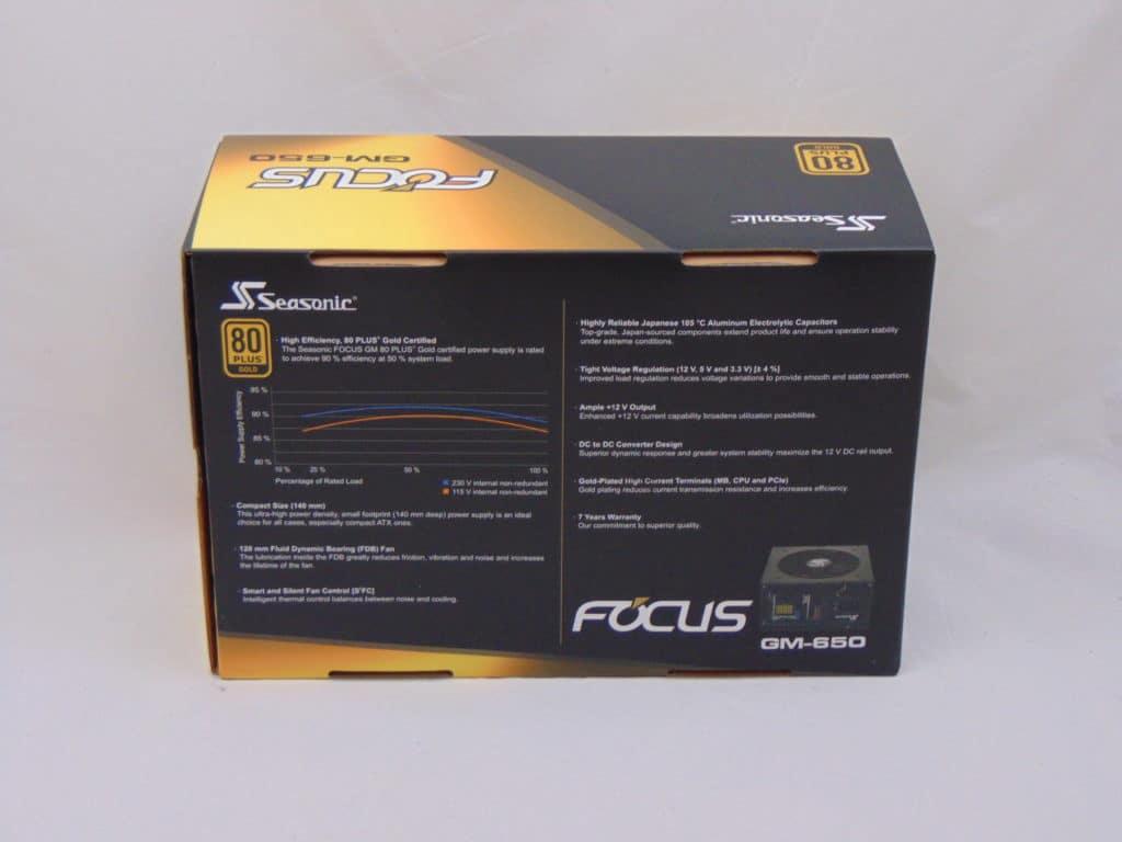 Seasonic FOCUS GM-650 650W Power Supply back of box