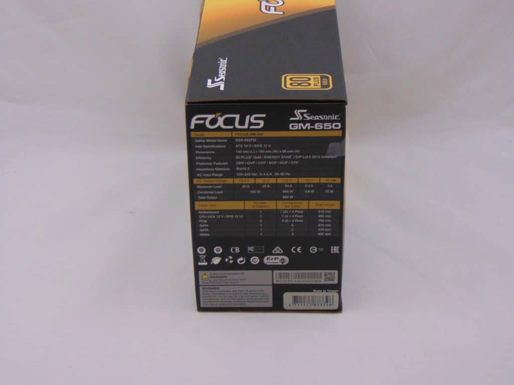Seasonic FOCUS GM-650 650W Power Supply side of box