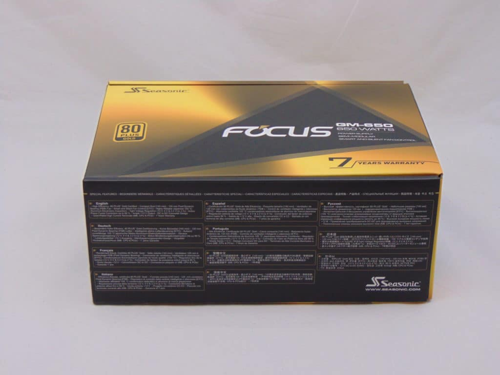 Seasonic FOCUS GM-650 650W Power Supply bottom of box