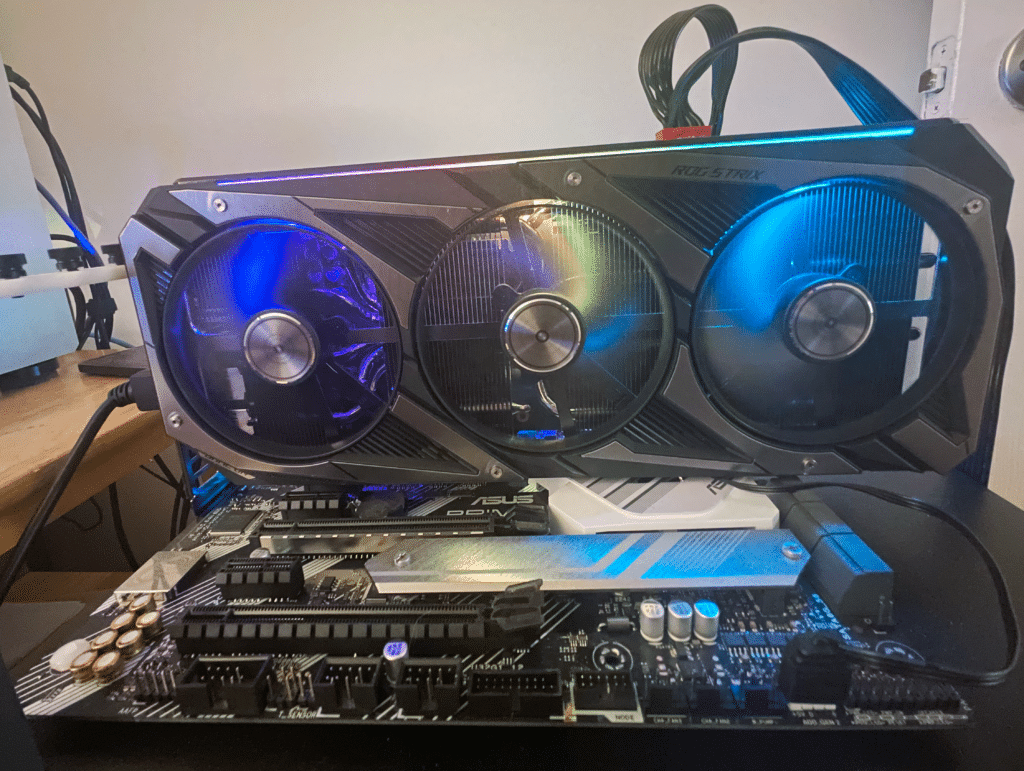 ASUS ROG STRIX GeForce RTX 3060 OC Edition Installed in System showing RGB