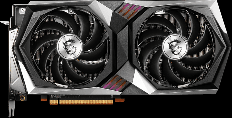 MSI Radeon RX 6700 XT GAMING X video card front angle black background