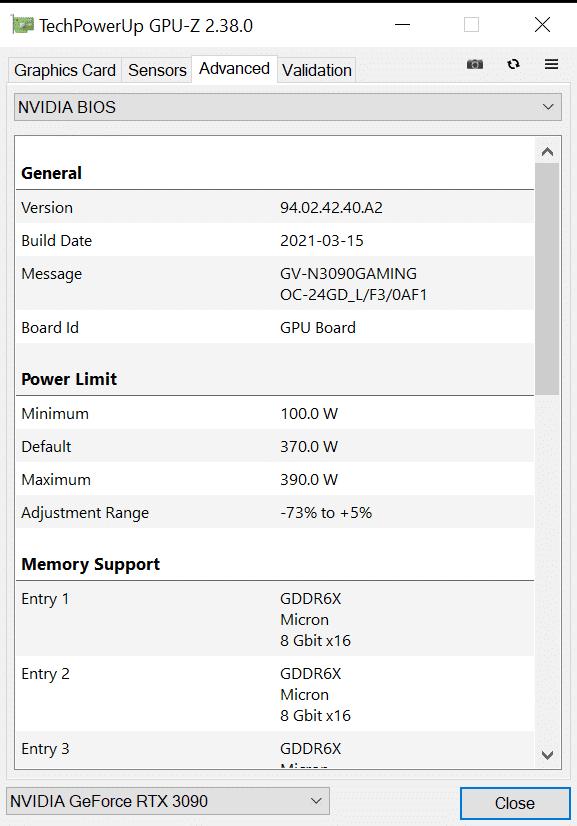 GIGABYTE GeForce RTX 3090 GAMING OC GPUz Advanced BIOS Information