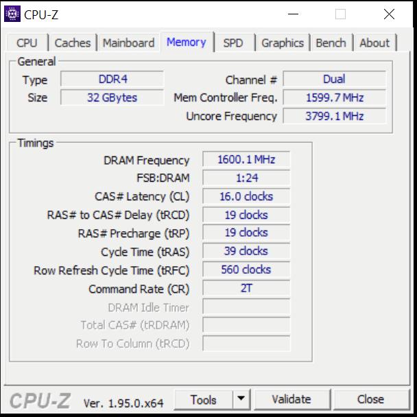 Intel Core i5-11600K CPU CPUz