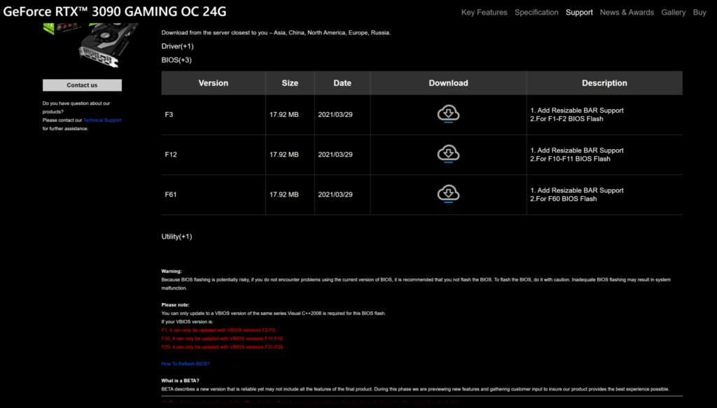 GIGABYTE GeForce RTX 3090 GAMING OC Webpage BIOS Versions