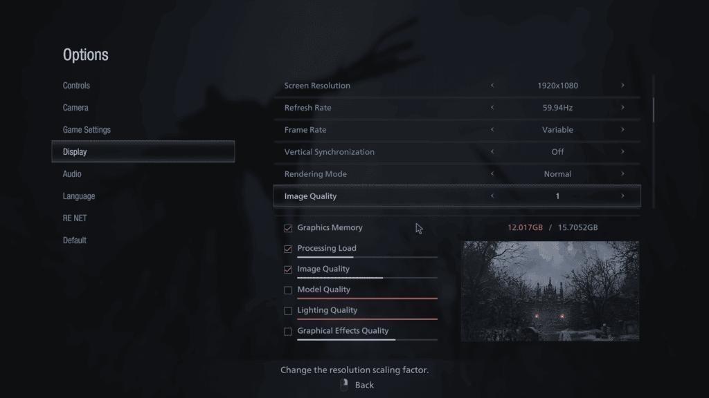 Resident Evil Village Graphics Settings