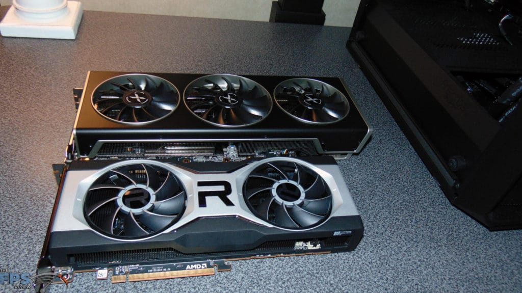 XFX SPEEDSTER MERC 319 BLACK AMD Radeon RX 6700 XT and AMD Radeon RX 6700 XT side by side size comparison