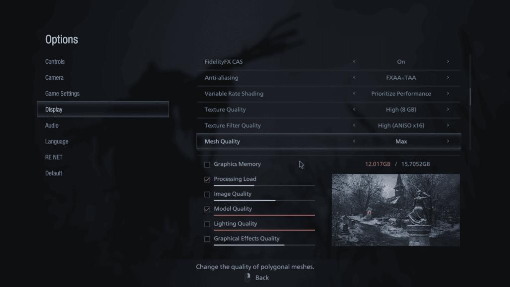 Resident Evil Village AMD FidelityFX CAS Graphics Setting
