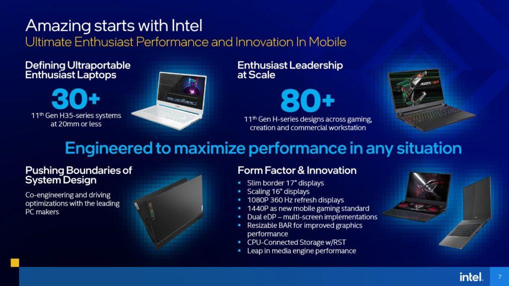11th Gen Intel Core H-series Mobile Processors Presentation Ultimate Performance Laptops