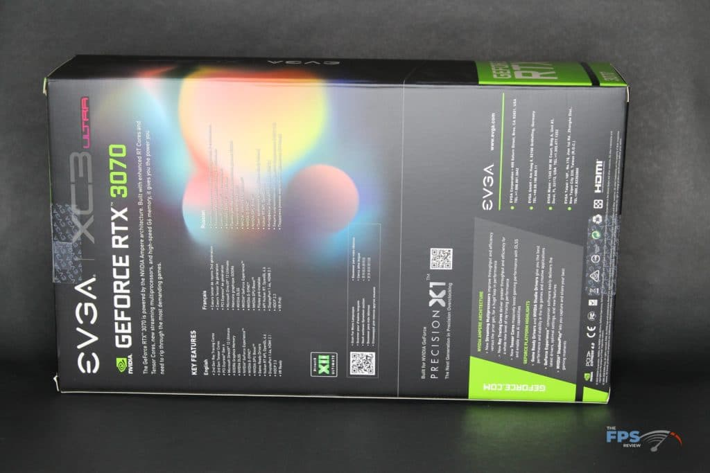EVGA GeForce RTX 3070 XC3 ULTRA GAMING back of box
