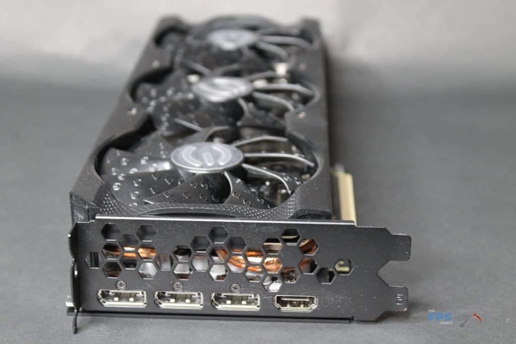 EVGA GeForce RTX 3070 XC3 ULTRA card on side view