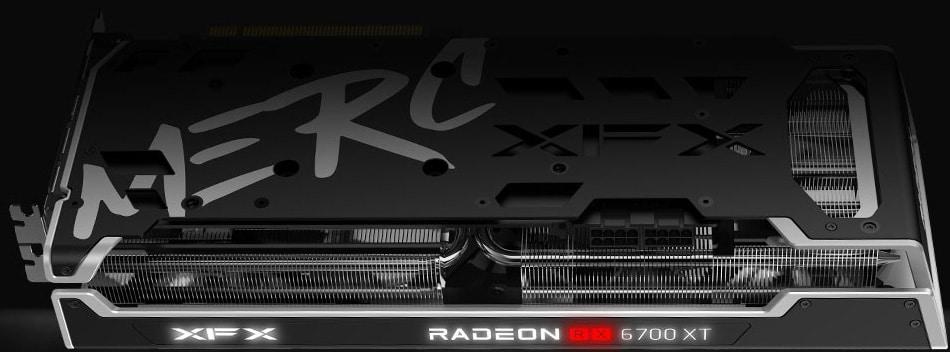 XFX SPEEDSTER MERC 319 BLACK AMD Radeon RX 6700 XT video card backside with RGB lighting