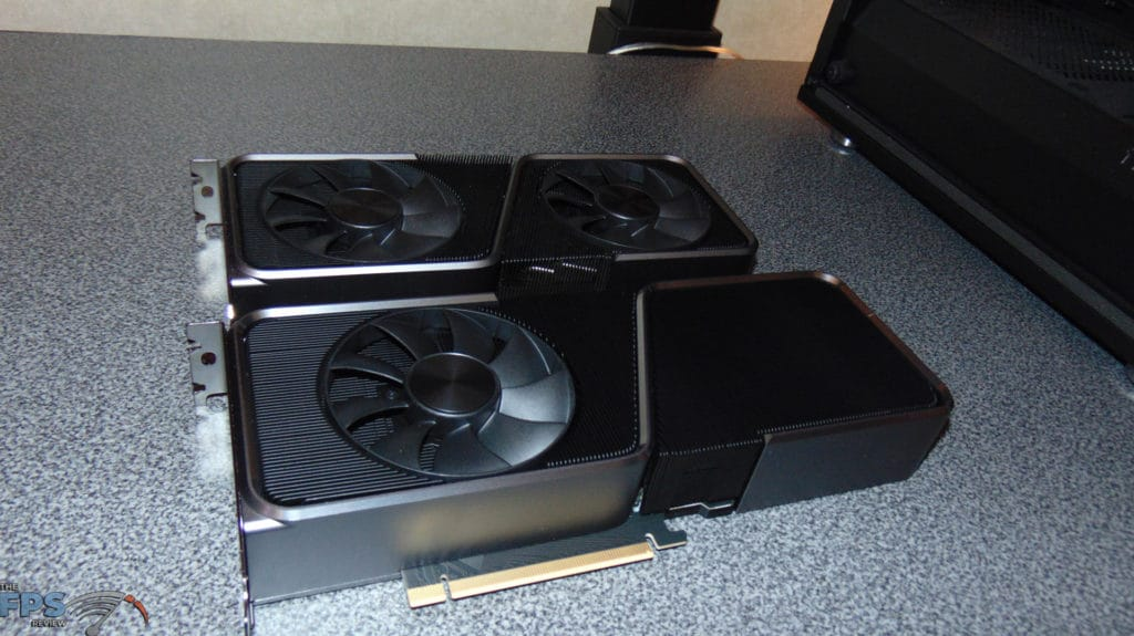 NVIDIA GeForce RTX 3070 Ti Founders Edition video card side by side with nvidia geforce rtx 3070 founders edition video card