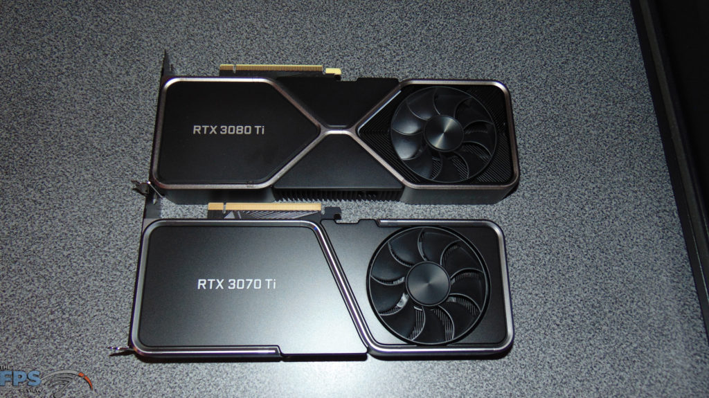 NVIDIA GeForce RTX 3070 Ti Founders Edition side by side with nvidia geforce rtx 3080 founders edition video card