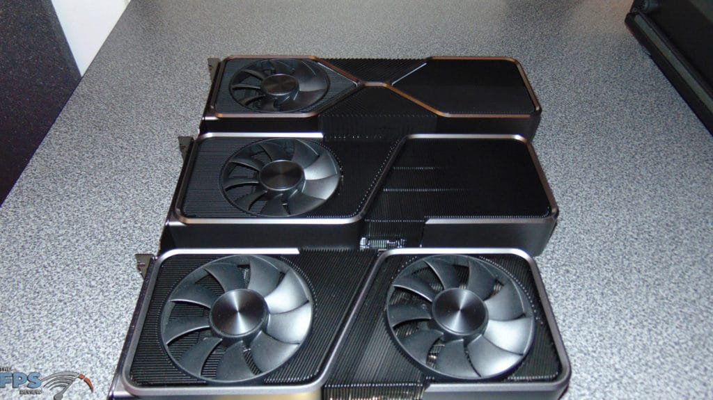 NVIDIA GeForce RTX 3070 Ti Founders Edition side by side with nvidia geforce rtx 3080 founders edition video card and nvidia geforce rtx 3070 founders edition video card