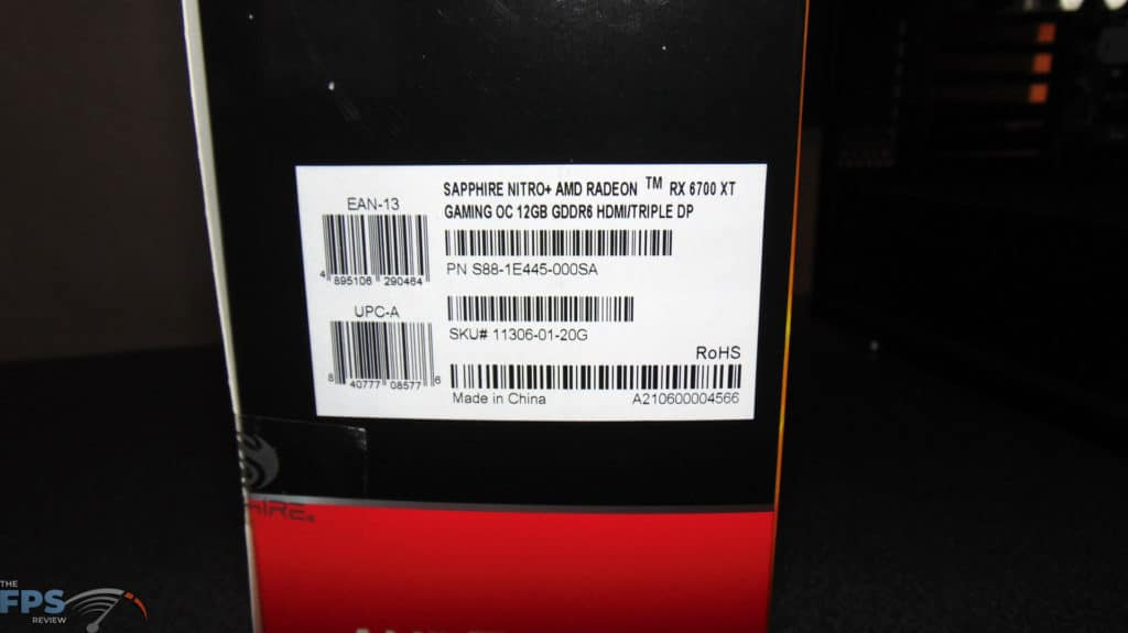 SAPPHIRE NITRO+ Radeon RX 6700 XT GAMING OC box label
