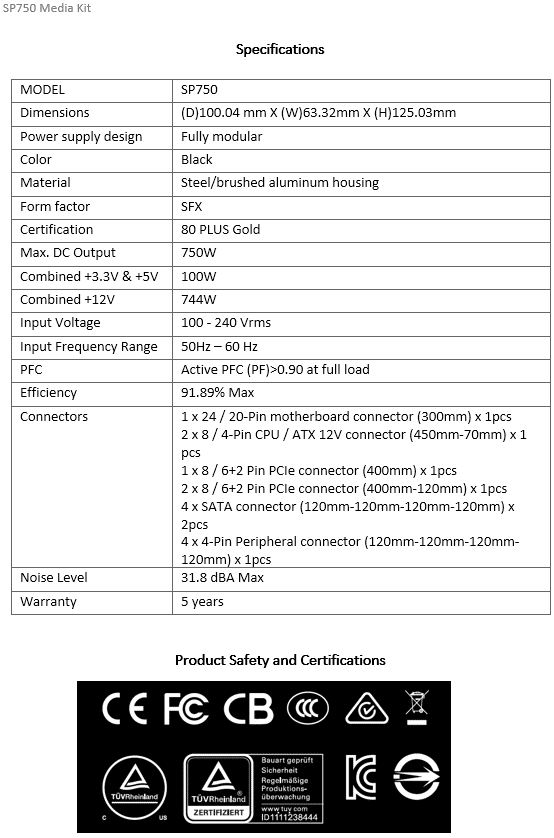 Lian Li SP750 Media Kit Specification Information