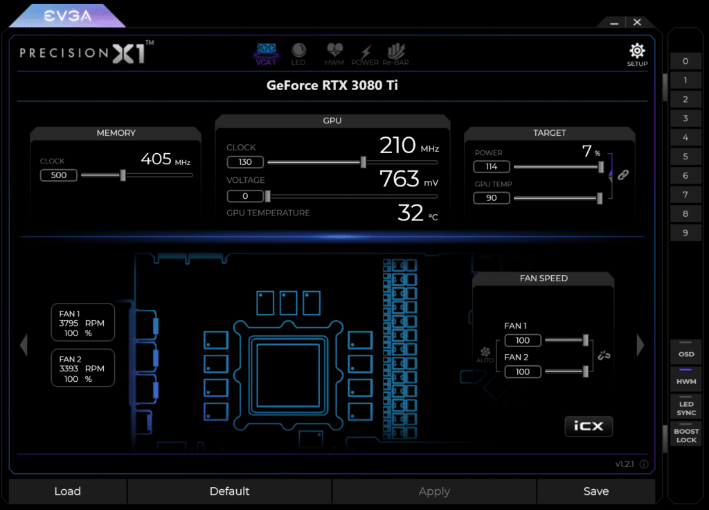 EVGA Precision X1 Overclocking Software Highest Overclock on NVIDIA GeForce RTX 3080 Ti Founders Edition