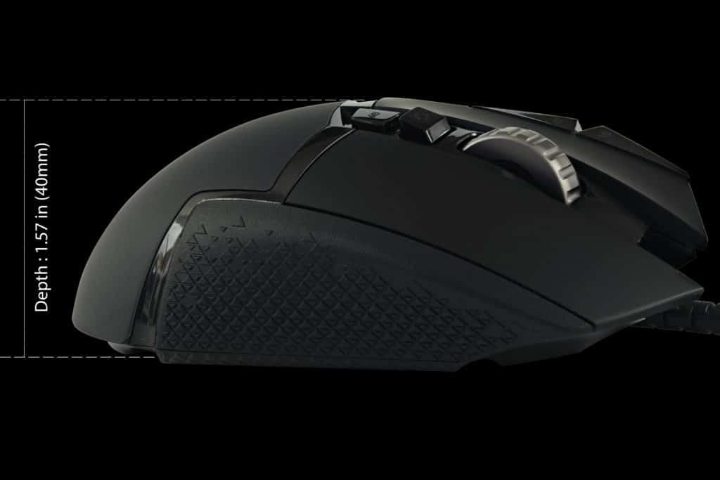Logitech G502 HERO High Performance Gaming Mouse Depth size