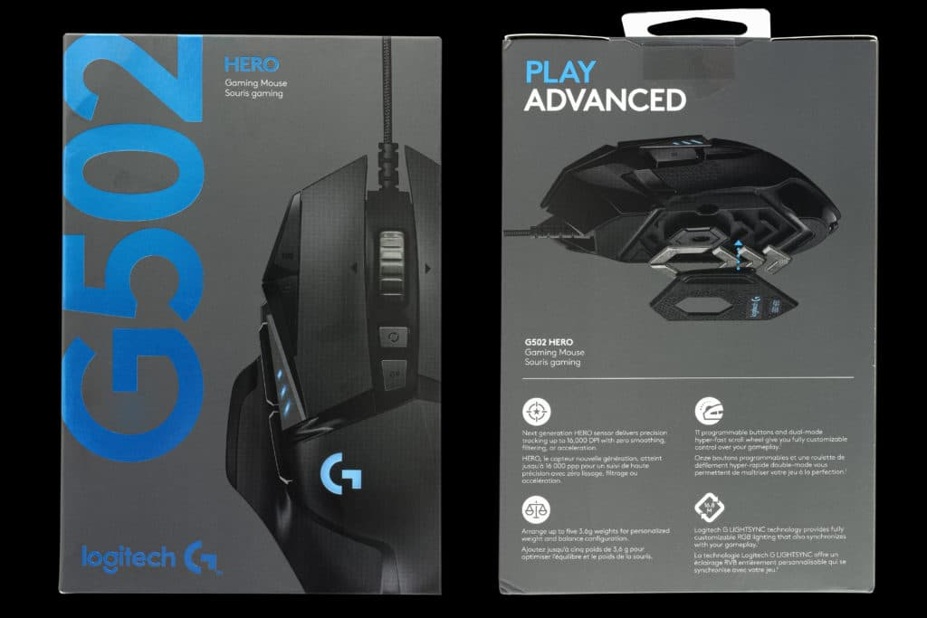 G502 Hero Box, front and back
