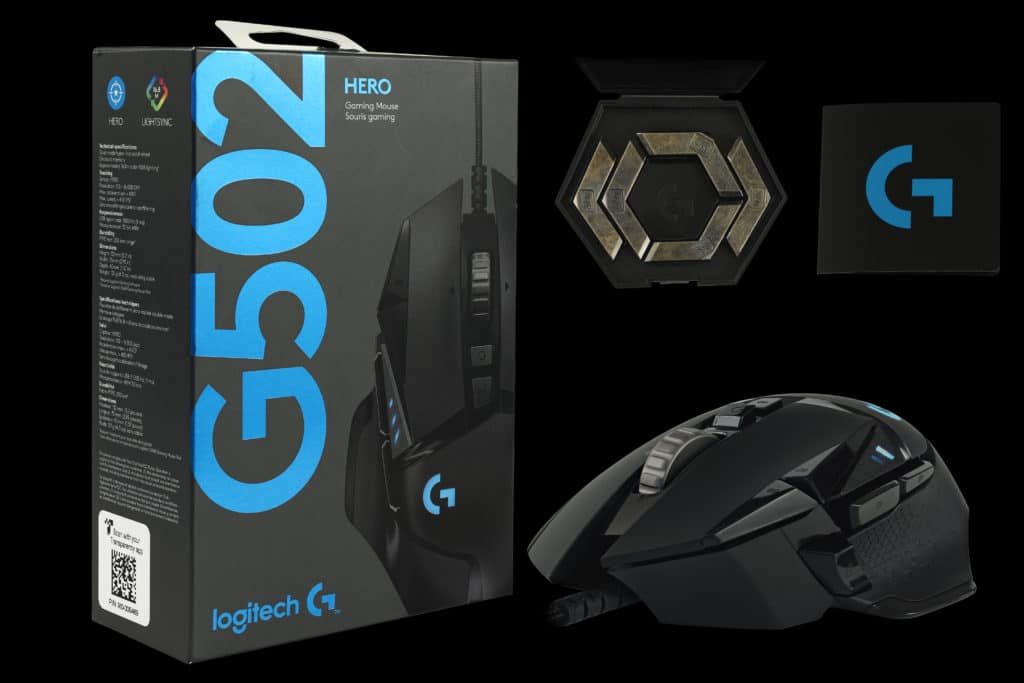 G502 Hero Box, mouse, weights, card
