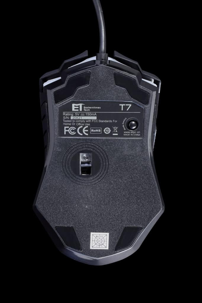 PICTEK T7 Wired Gaming Mouse Bottom View