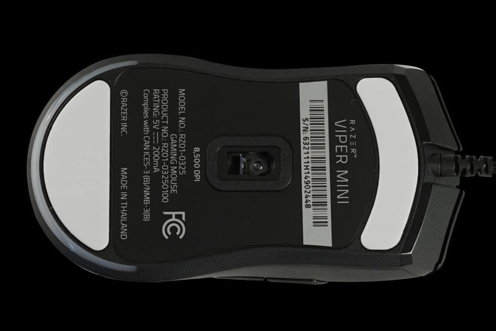 Razer Viper Mini Wired Gaming Mouse Bottom View