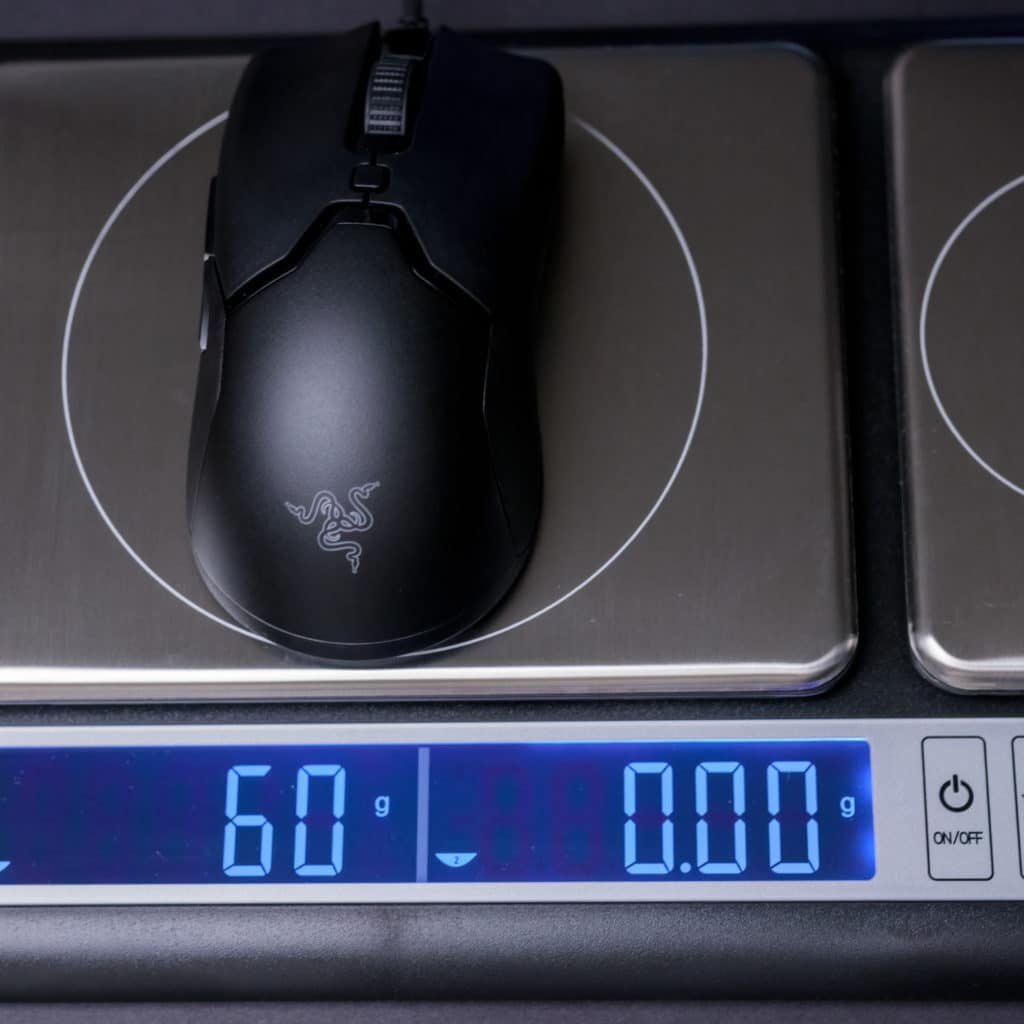 Razer Viper Mini Wired Gaming Mouse on Scale Weight
