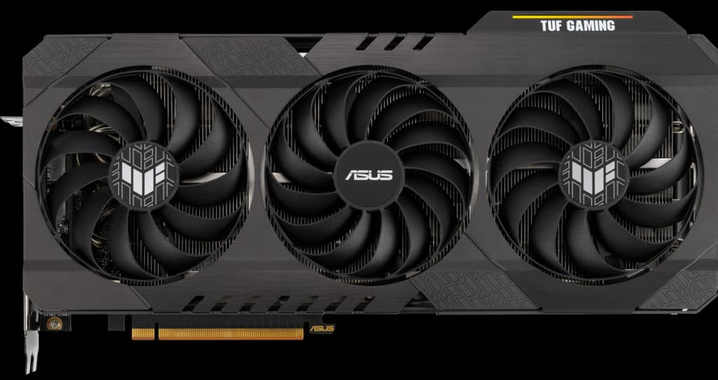 ASUS TUF Gaming Radeon RX 6700 XT OC Edition video card top view