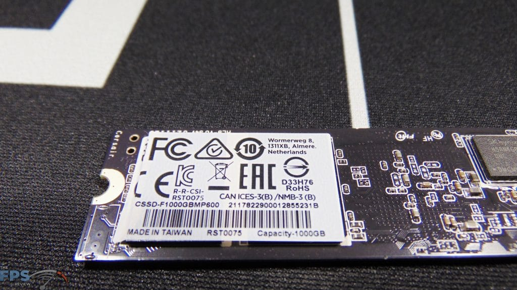 CORSAIR Force Series MP600 1TB Gen4 PCIe x4 NVMe SSD label on back of ssd