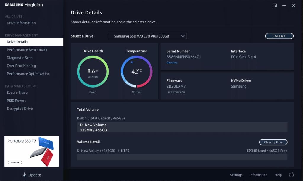 Samsung Magician Drive Information
