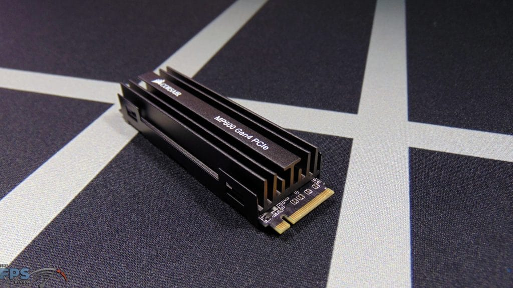 CORSAIR Force Series MP600 1TB Gen4 PCIe x4 NVMe SSD top view turned