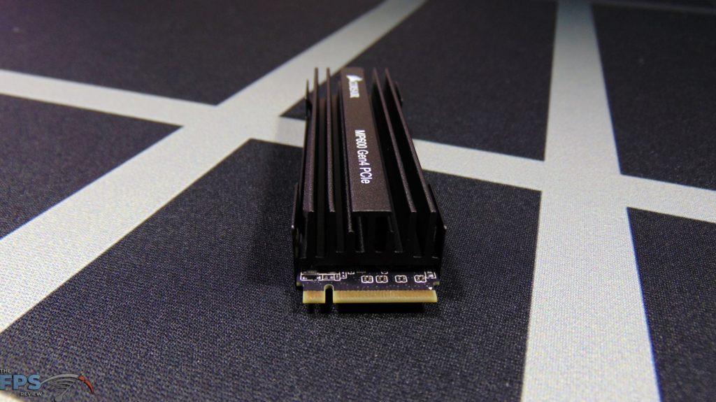 CORSAIR Force Series MP600 1TB Gen4 PCIe x4 NVMe SSD top view end view