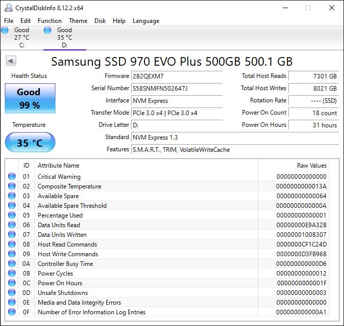 Samsung 970 EVO Plus NVMe M.2 SSD 500GB CrsystalDiskInfo