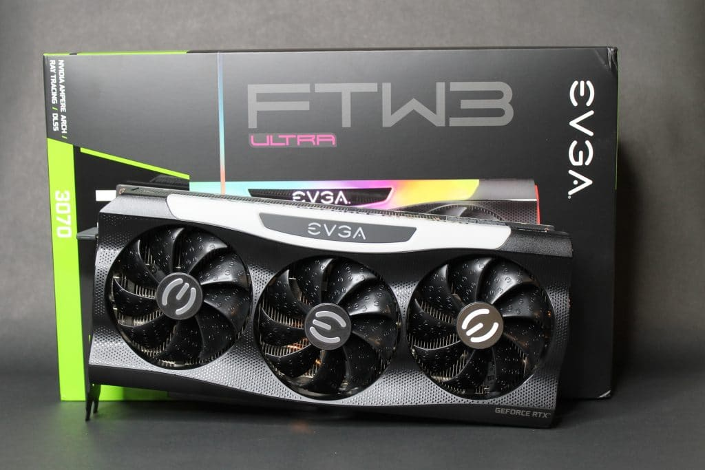 EVGA RTX 3070 FTW ULTRA GAMING  Card on in front of box