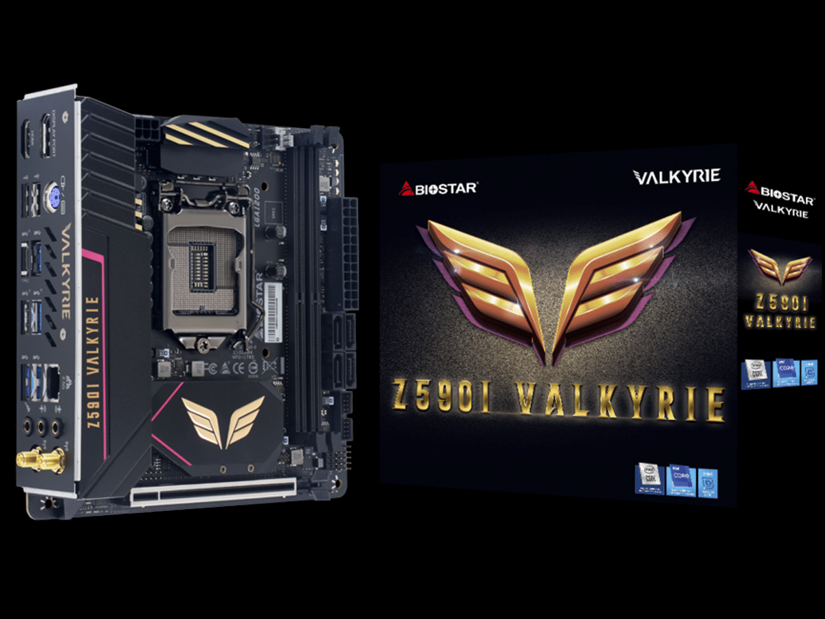 BIOSTAR Z590I VALKYRIE Motherboard and Box Featured Image