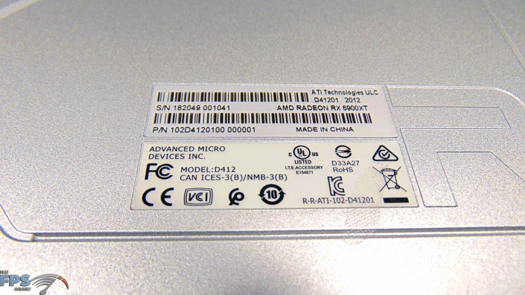 AMD Radeon RX 6900 XT Video Card Product Label