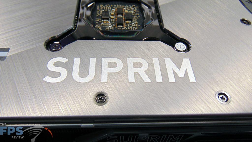 MSI GeForce RTX 3070 Ti SUPRIM X 8G Closeup of SUPRIM Logo