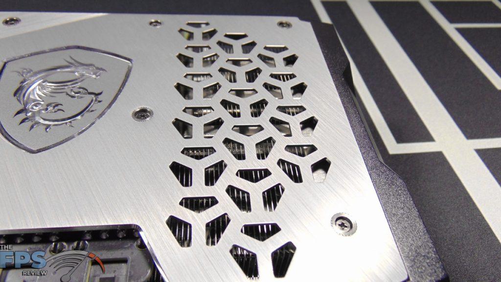 MSI GeForce RTX 3070 Ti SUPRIM X 8G Closeup of Pass Through Cooling Vents