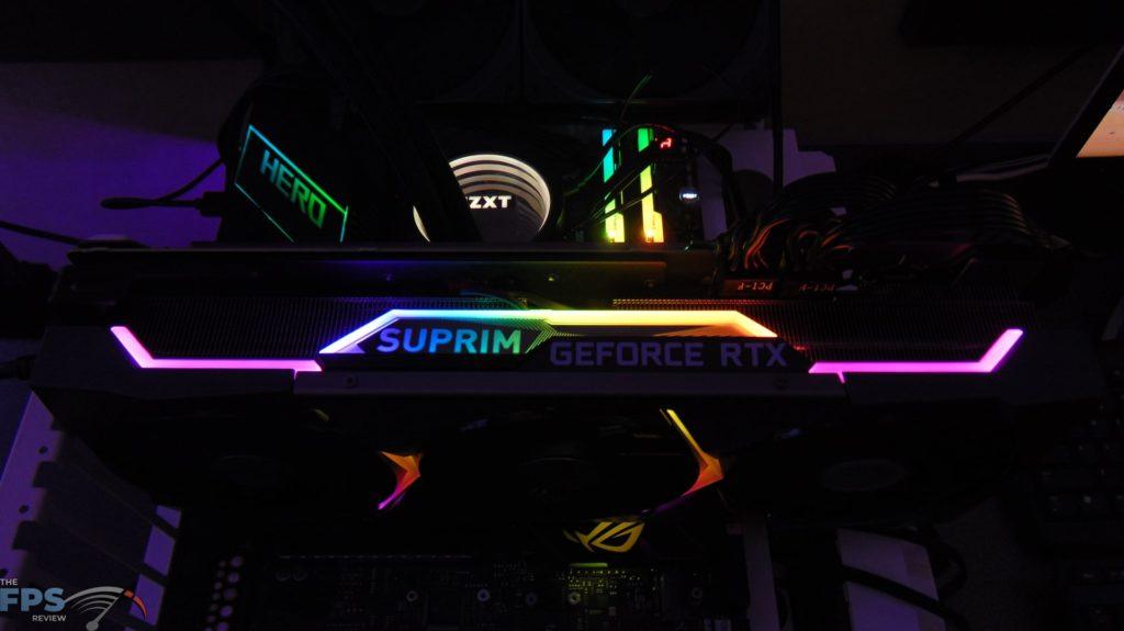 MSI GeForce RTX 3070 Ti SUPRIM X 8G RGB lights on Top of Video Card