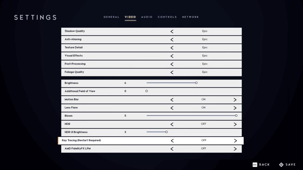 Godfall Graphics Settings Screenshot