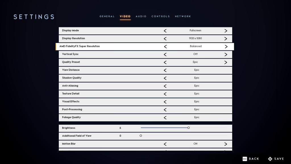 Godfall Balanced FSR Graphics Settings Screenshot