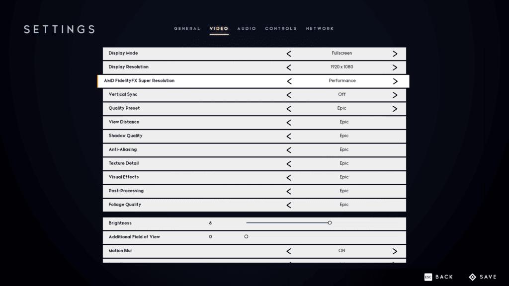 Godfall Performance FSR Graphics Settings Screenshot