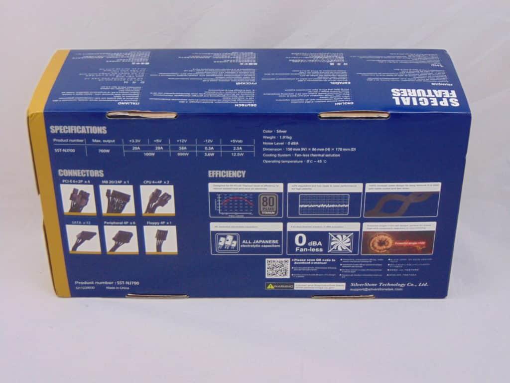 SilverStone NJ700 700W Fanless Power Supply back box