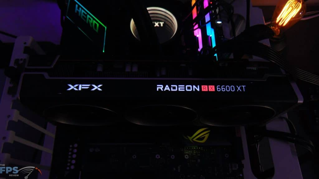 XFX SPEEDSTER MERC 308 Radeon RX 6600 XT Black Installed in system LED XFX and Radeon Logo